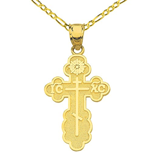 Solid 14k Yellow Gold Eastern Orthodox IC XC Cross Charm Pendant Figaro Necklace, 24