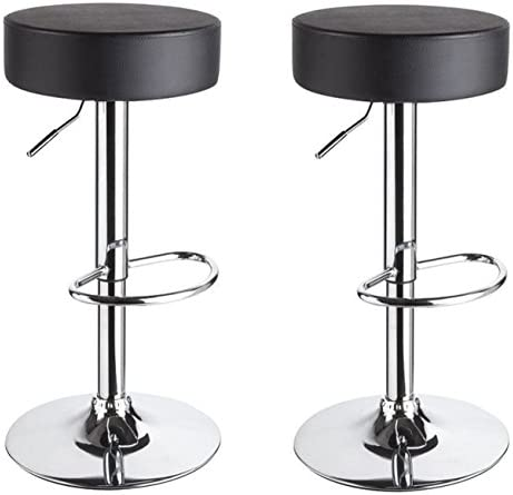 Duhome Set of 2 Round PU Leather Bar Stool Swivel Hydraulic Adjustable Kitchen Counter Height Pub Bistro Cafe Restaurant Black