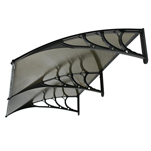 "Super Deal 40""x 80"" Overhead Door Window Outdoor Awning Door Canopy Patio Cover Modern Polycarbonate Rain Snow Protection (Brown Panel)"