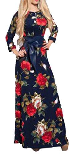 Blumen Retro Bedrucktes Kleid Damen Mode Jumpsuit Schlankes Gummizug Abiballkleid Rundhals Kleid 3 4 arm Dirndl Lange Kleider
