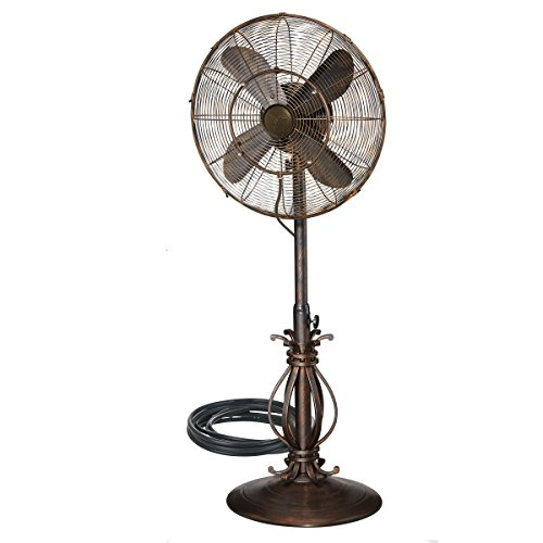 "Dynamic Collections Oscillating Fan with Misting Kit - 3 Cooling Speeds with High RPM - 40"" to 51"" Adjustable Height - Art Deco Floor Fan with Weighted Base and All-Weather ()"