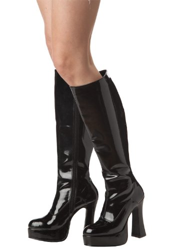 [California Costumes Black Patent Go Go Boots S(Size 5-6)] (Black Platform Gogo Boots)