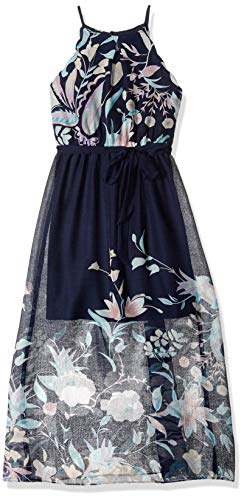 Amy Byer Girls' Big' Scalloped Maxi Dress Navy/Rose Girly Garden Border 12 ()