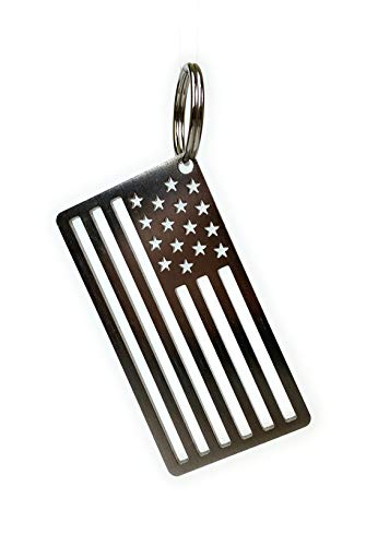 Arotags American Flag Key Chain | 304 Grade Stainless Steel | Made in USA