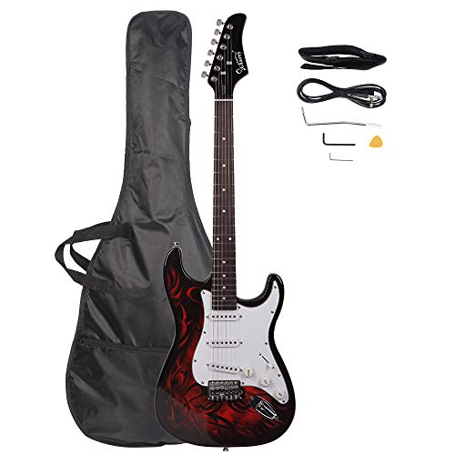 Electric Guitar Kit Bundle – Guitar Beginner Electric Guitar Starter Kit With Bag Strap Paddle Rocker Cable Wrench Tool Acoustic Guitar Classical Guitar Right Hand Guitar Red