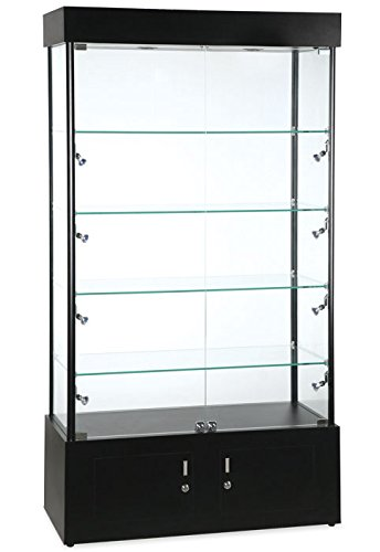 ar Halogen Lighted Showcase Tower Display Case Black (Lighted Tower Display)