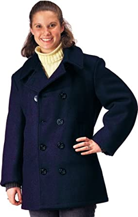 Amazon.com: Navy Blue Womens US Navy Type Wool Peacoat (32 (X ...