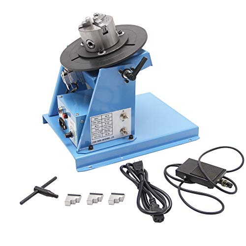 """Hanchen Rotary Welding Positioner 0-90º 180mm Turntable Table for Circle Welding 3.15"""" 80mm Chuck with CE Certificate"""