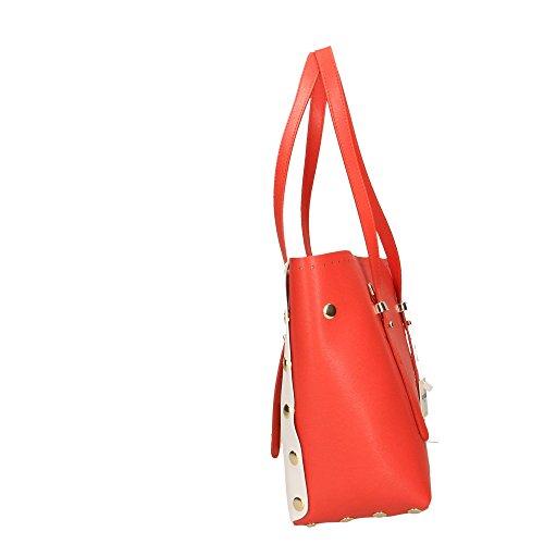 Cm Saffiano POP Sac main 23x23x12 femme Impression Corail Corail cuir Blanc en véritable Italy à Bags Made in 66Sqxr7