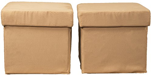 Vanderbilt Foldable with Tray Top Storage Ottoman/Table and Bench Set (two ottomans), Microfiber Suede Khaki