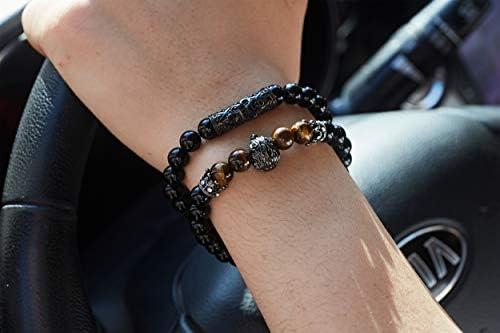 KAMRESH Black Matte Beads Bracelets 8mm Onyx Stone Bracelets Sets Charm King Crown for Women Men