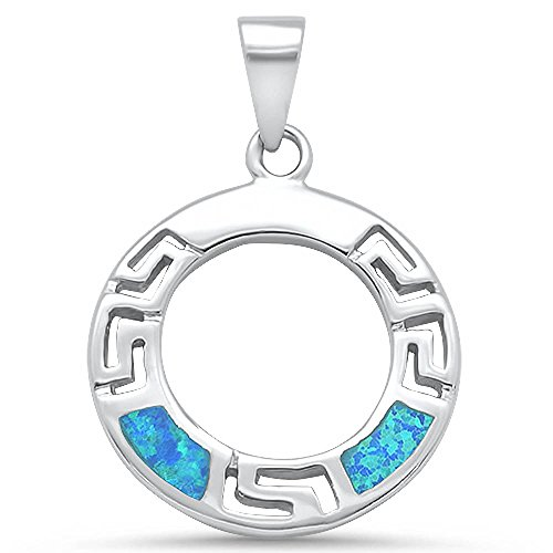 Oxford Diamond Co Sterling Silver Lab Created Blue Opal Circle Greek Key Design Pendant