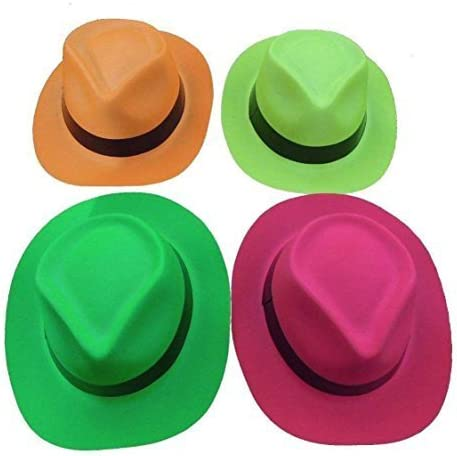 Tytroy Set of 12 Neon Color Plastic Fedora Gangster Party Hats Costume Accessory