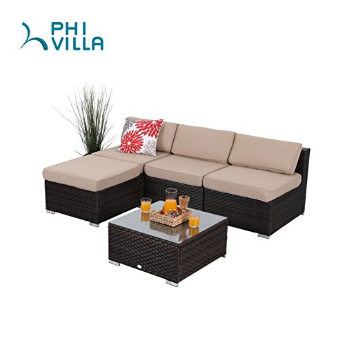 Cheap PHI VILLA 5-Piece Outdoor Furniture Set Rattan Sectional Sofa with Glass Table, Beige