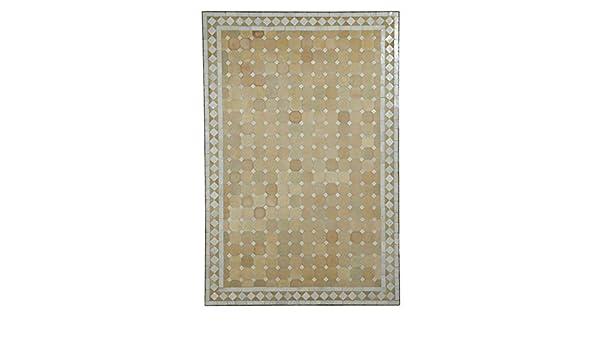 bonica decoraci/ó artesan/ía de Marrakesch MT2120 mesa de jard/ín mesa de mosaico 120x80 cm rectangular azul terracota con estructura de 75 cm de altura mesa de restaurante mesa de comedor