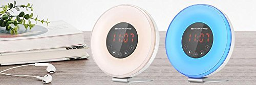 Sunrise Alarm Clock, SMARTRO Alarm Clock Radio with Colored Sunrise Simulation, Wake up Light 7 Colors, Nature Sounds, FM Radio, Touch Control for Bedrooms & Kids