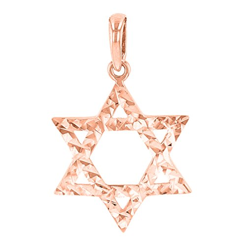 (14K Rose Gold Hebrew Star of David Charm Pendant with Textured Finish)