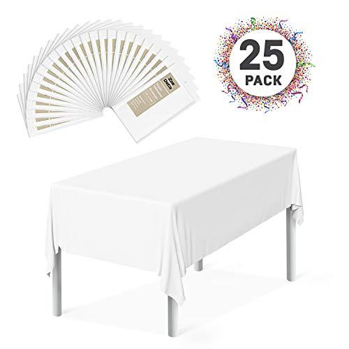 Zoe Deco Plastic Tablecloth (25 Pack, Rectangular 54