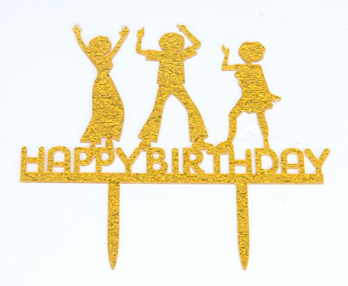 Happy Birthday Gold Cake Topper-Let's Party Cake (80 Themed Cake)