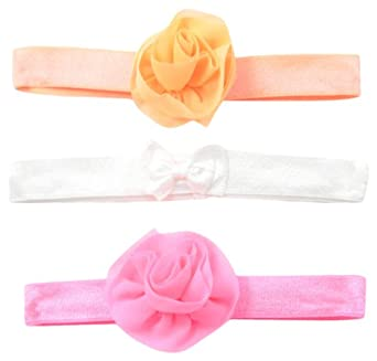 6fa3fe34d Carter's Baby-Girls Newborn 3 Pack Interlock Rosette Bow Headwrap-Neon,  Multi,