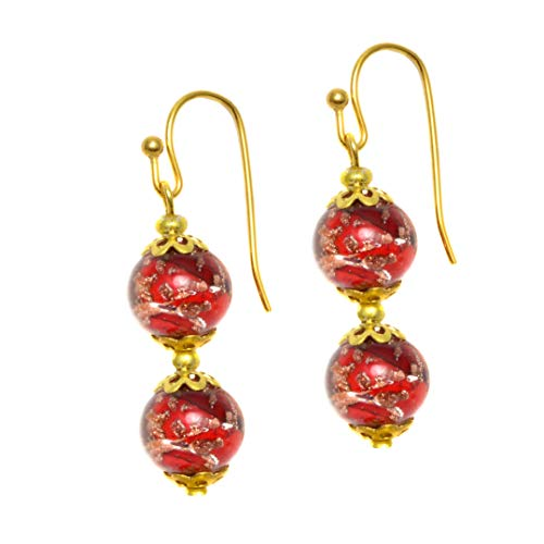 Just Give Me Jewels Genuine Venice Murano Sommerso Aventurina Glass Bead Dangle Earrings - Red