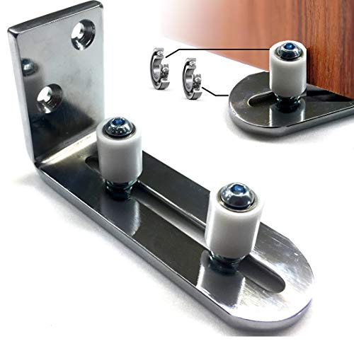 Floradis Large Stay Roller Floor Guide for Bottom of Sliding Barn Doors. Lay-Flat System. Totally Flush to Floor. Ultra Smooth Fully Adjustable Wall Mount Guides. Ball Bearings Wheels (Silver)