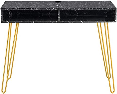 Henf Modern Simple Computer Table Laptop Desk, MDF Metal Iron Foot Office Desk Study Writing Table for Home Office,Golden Marble Color, Black