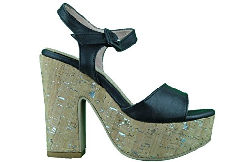 Sandali donna open toe sughero nero made in Italy