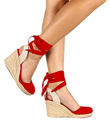 (Ermonn Womens Platform Wedge Sandals Closed Toe Lace up Ankle Strap Espadrille Sandals Red)