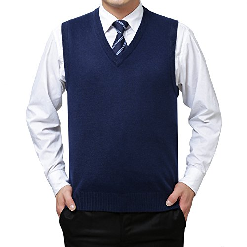 4dea43eb0b5b Men Soft Sweater Knitted Vest Warm Cashmere Wool V Neck Sleeveless ...