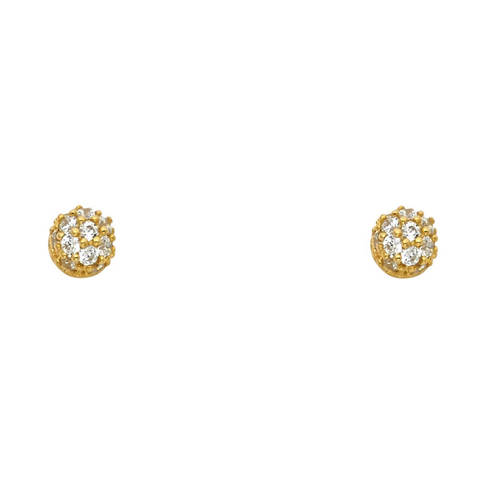 Wellingsale 14K Yellow Gold Polished Half Ball Stud Earrings With Screw Back