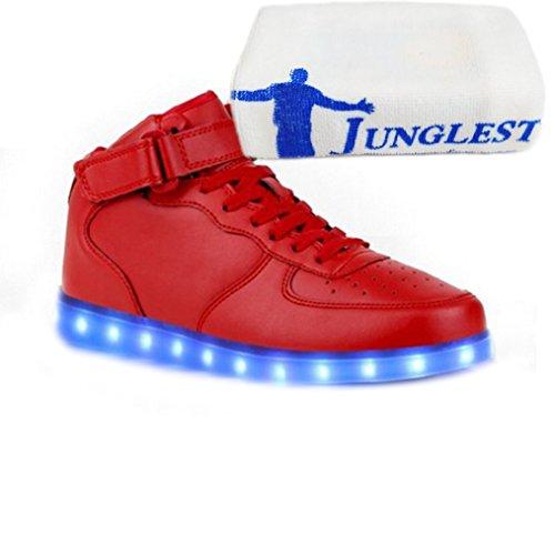 (Présents:petite serviette)JUNGLEST® de Couleur Mode Hith-Top Unisexe Homme Femme USB Charge LED Lumière Lumineux Clignotants Chaussures Rouge
