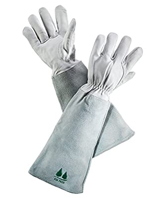 Leather Gardening Gloves By Fir Tree. Premium Goatskin Gloves with Cowhide Suede Gauntlet Sleeves. Perfect Rose Garden Gloves. For Men and Women (Size Chart Pictured)