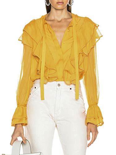 Glamaker Women's Elegant Chiffon Ruffle Bow Tie Neck Blouse Long Sleeve Button Down V Neck Shirt Tops Yellow ()