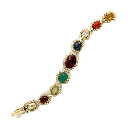 Navratna Gemstone Bracelet 18k Solid Yellow Gold Natural Diamond Fine Jewelry Exporters (Exporter Gold Jewelry)