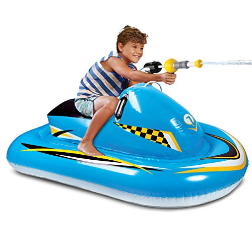 (Discovery Kids Inflatable Ride-On Pool Float with Integrated Water Blaster, Watercraft, Pump Action for Continuous Soaking, Best Pool Toy, Twin Handles, Hours of Active Play Outdoors, Boys and)