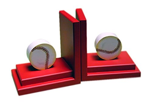 Sports Baseball Bookends in Red Base