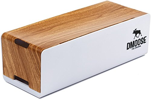 DMoose Cable Management Box Organizer - Curved Top, Wooden Style Plastic - Hides Power Strips, Surge Protectors & Cords. Large Size for Entertainment Center, Home Office, Computers–Kids & Pet Friendly by DMoose