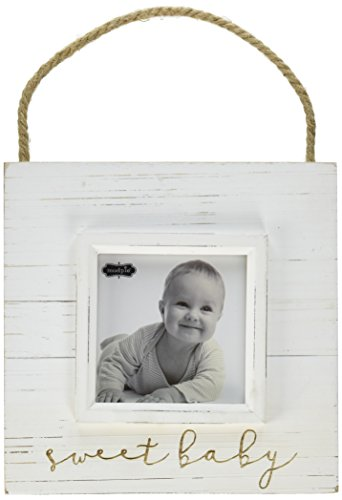 Mud Pie Sweet Baby Hanger Frame Distressed Nursery Décor, 4'' x 4'' by Mud Pie
