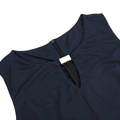 Vrzpopi Femmes Sans Manches Robe Crayon Couleur Unie Mince Paquet Ajustement Robe De La Hanche Avec Le Bouton Métallique (s-3xl) Noir