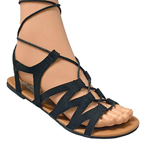 Women's Suede Criss Cross Lace Up Wrap Gladiator Flat Sandal (8, - Porn Skinny Retro