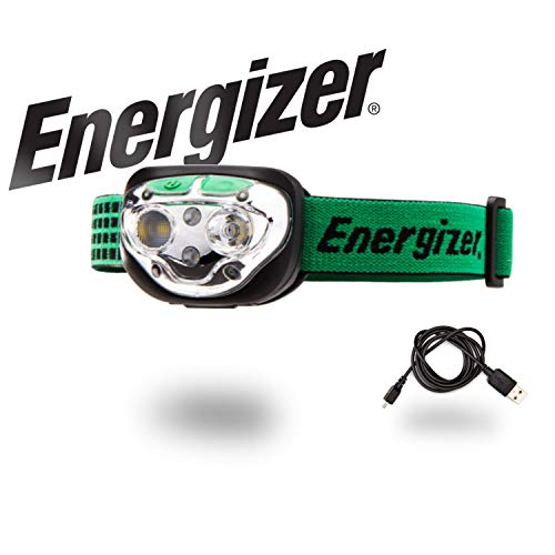 Energizer Vision Ultra Rechargeable Headlamp Flashlight, 400 Lumens LED Headlamp, 6 Modes, IPX4 Water-Resistant