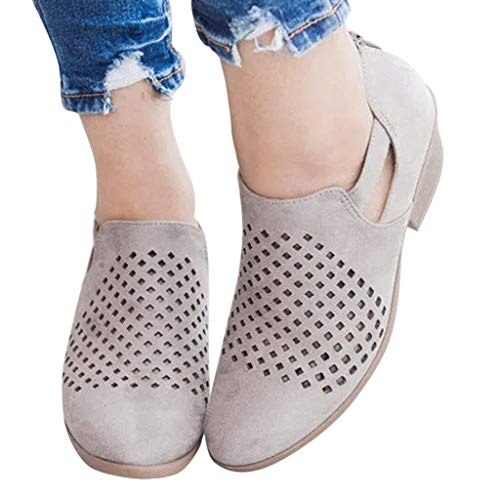 (Outtop(TM) Women Hollow Ankle Boots Ladies Fashion Out Leather Spring Autumn Short Booties (US:9, Gray))