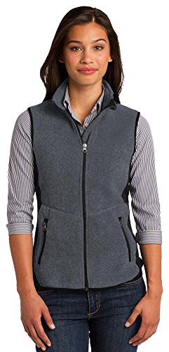 Port Authority Ladies R-Tek Pro Fleece Full-Zip Vest, Charcoal Heather/ Black, Large