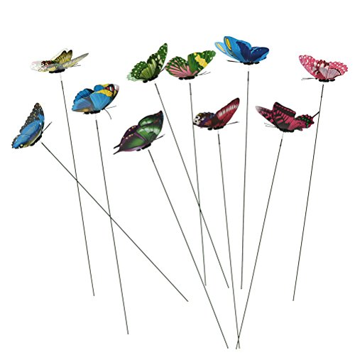 (Datingday 10 Pack Colourful Garden Butterflies On Sticks Miniature Fairy Garden Decoration)