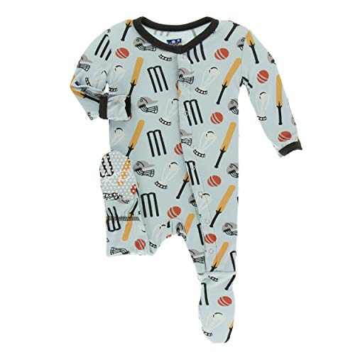Kickee Pants Little Boys Print Footie with Snaps - Spring Sky Cricket, 0-3 Months