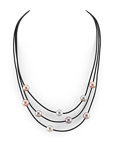 - THE PEARL SOURCE 8-9mm Genuine Multicolor Freshwater Cultured Pearl Triple Strand Leather Necklace for Women