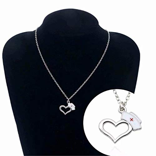 (LOSOUL Love Heart Necklace Nursing Hat Cap Fashion Silver Plated Jewelry Gift for Medical Students Nurse Graduation)