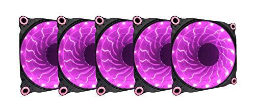 Apevia 512L-DPP 120mm Silent Black Case Fan with 15 x Purple/Pink LEDs & 8 x Anti-Vibration Rubber Pads (5 Pk) -