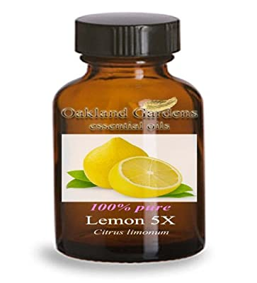 LEMON 5X Essential Oil (30 mL Euro Dropper) - 100% PURE Therapeutic Grade Essential Oil - Citrus limonum - Essential Oil By Oakland Gardens by Oakland Gardens Wedding & Home Decor